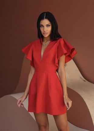 Красное платье с рюшем , платье с воланами , вечернее платье 44 размер