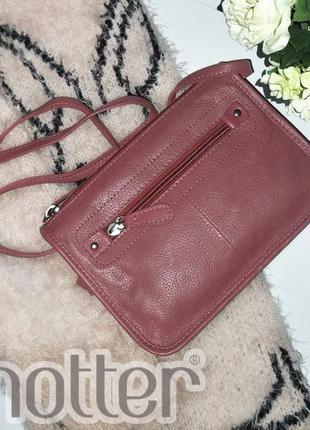 Аккуратная розовая кожаная сумка hotter натуральная кожа