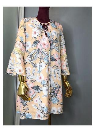 Сарафан летнее платье туника в нюдовых пастельных тонах бежевое бохо рюши живопись принт цветочный