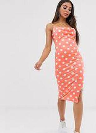 Коралловое платье в горох, горошек missguided, сатиновое, в бельевом стиле