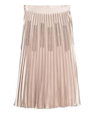 💗💗💗final sale🔥роскошная плиссированная юбка h&m с камешками (стеклярус) и бисером!
