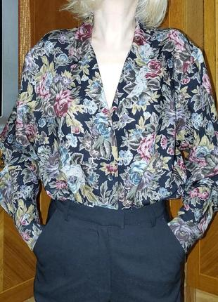 Винтажная шерстяная блуза, тонкая100% шерсть