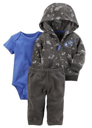 Костюмчик для хлопчика - кардиган і штанці із мікрофлісу та трикотажний боді космос картерс