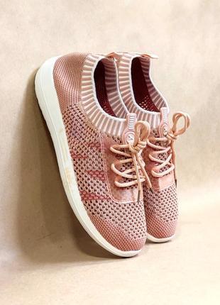 Кроссовки текстиль летние бежевые розовые (код 384) бежеві кросівки літні