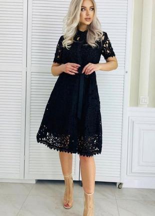 Черное хлопковое платье , прошва