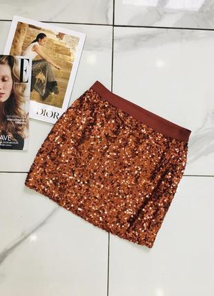 Красивая бронзовая мини юбка расшитая пайетками от forever 21 акция  1+1=3 на всё 🎁
