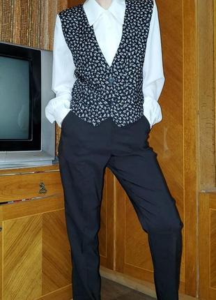 Винтажная блуза с жилетом жилеткой винтаж ретро 80-е