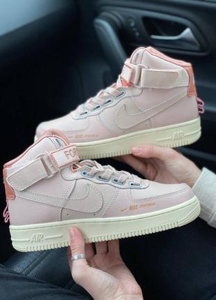 Кроссовки женские nike air force 1 high utility pink кеды повседневные розовые найк аир форс 1 высокие мид