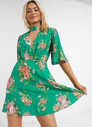 Натуральное яркое цветочное платье с чокером asos, чокер, цветы,