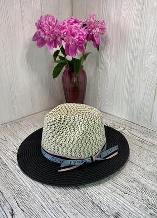 Женская солнцезащитная двухцветная соломенная шляпа с широкой синей лентой с надписью и черными полями