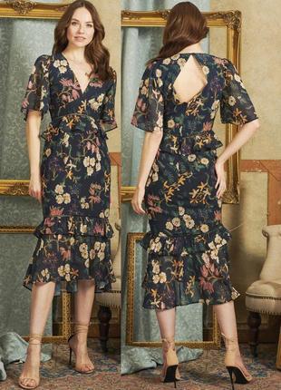 Распродажа платье hope & ivy миди с оборками и полуоткрытой спиной с asos