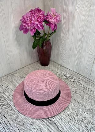 Женская солнцезащитная соломенная шляпа розовая с черной лентой