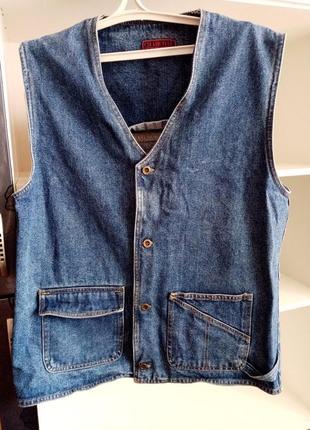 Мужская джинсовая жилетка безрукавка чоловіча джинсова жилетка