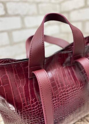 Вместительная сумка с турецкой экокожи бордо крокодил3 фото