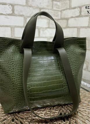 Вместительная сумка с крокодиловым принтом хаки