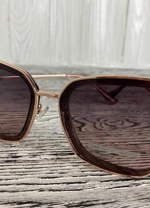 Солнцезащитные женские очки polar 3235 цвета шампань квадратные3 фото