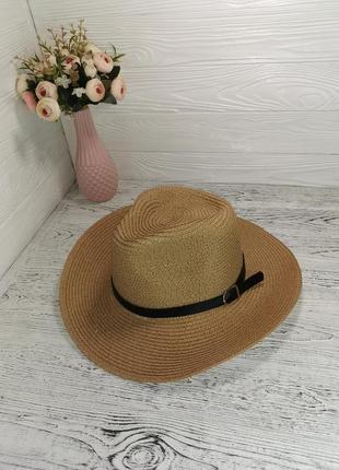 Женская солнцезащитная соломенная шляпа федора бежевая