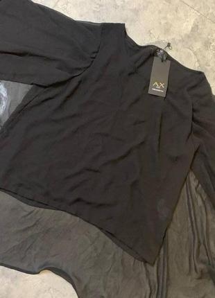 Черная шифоновая блуза летучая мышь