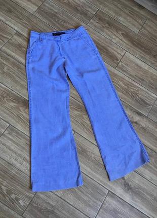 Голубые льняные модные брюки, прямые широкие штанины