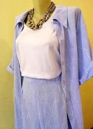 🌊 женский летний брючный костюм тройка + подарок 4 в 1 голубой 48-50 люкс