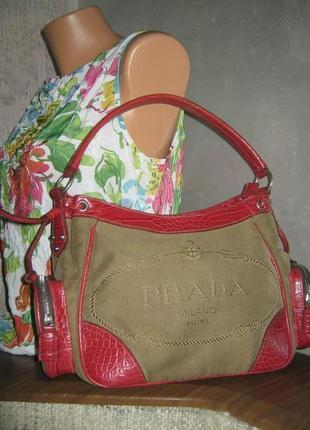 Prada небольшая женская сумка не кожаная текстиль с монограммой эко кожа