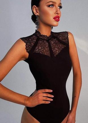 Черное боди , черная блуза, блуза с кружевом , кружевная блуза , боди 44