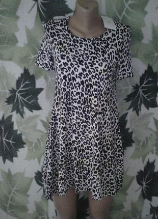Платье туника сарафан zara леопард трапеция
