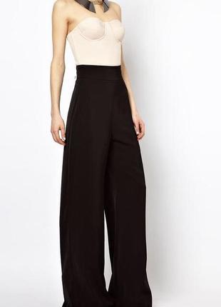 Чёрные базовые брюки штаны  высокая посадка клёш кюлоты широкие zara