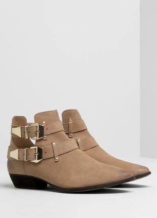 Кожаные легкие  ботинки туфли pull & bear