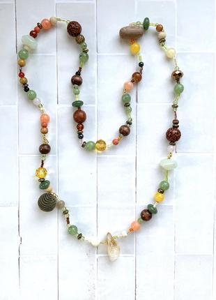 Ожерелье 😍осень бусы дерево натуральный камень бусины