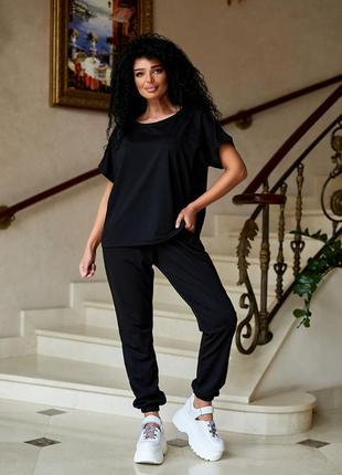 Женский спортивный прогулочный костюм м806 брюки и футболка