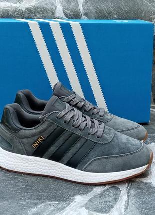 Женские кроссовки adidas iniki серые, замшевые, осенние