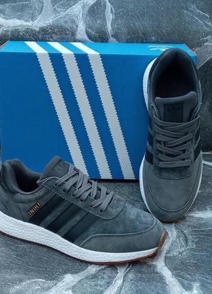 Женские кроссовки adidas iniki серые, замшевые, осенние4 фото