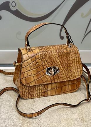 Рыжая сумка кожаная сумка под крокодила сумка шкіряна маленька сумка рижа жіноча