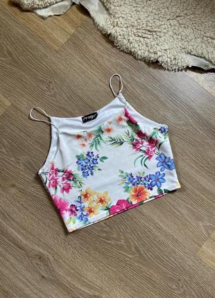 Шикарный топ в цветы , майка, футболка