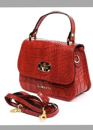 Сумка кожаная под крокодила красная сумка кожаная сумка шкіряна маленька