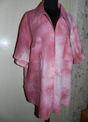 Натуральная,льняная блузка-рубашка с карманами,бохо,большого размера,италия