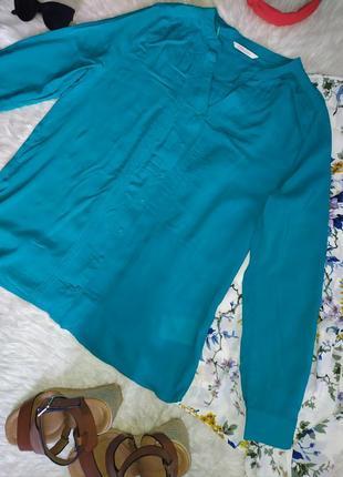 Бирюзовая рубашка с вискозы размер m бренда camaieu