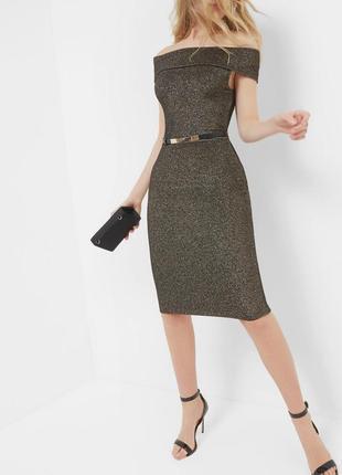 Ted baker платье миди по фигуре карандаш футляр чёрное золотое с открытыми плечами новое