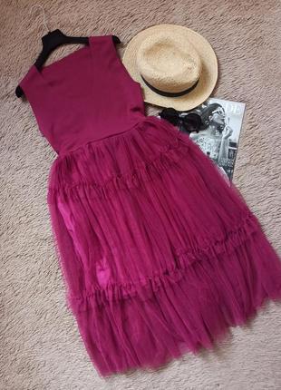 Шикарное платье миди с фатиновой юбкой/плаття/сукня