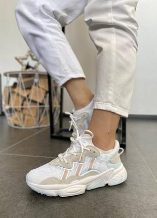 Женские кроссовки adidas ozweego white grey pastel blue