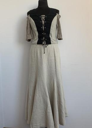 Баварский альпийский костюм винтаж октоберфест лен