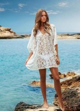 Платье кроше вязаное крючком макраме туника на пляж