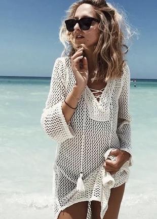 Платье трикотажное льняное туника на пляж