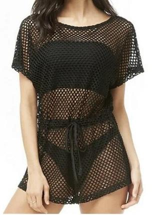 Туника на пляж сетка чёрная блуза в сетку