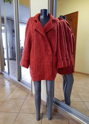 Шерстяное с карманами пальто, кардиган большого размера