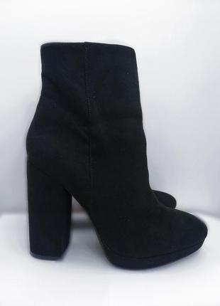 Ботинки замшевые на среднем каблуке сапоги полусапожки  демисезон