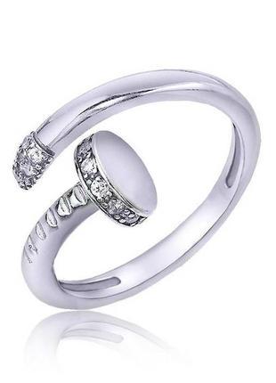 Серебряное кольцо в форме гвоздика