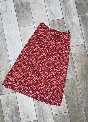 Красная шифоновая миди юбка,большой размер,батал,цветочный принт(1)