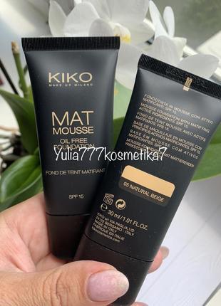 Матирующий тональный крем мусс kiko milano mat mousse